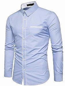 Camisa Social Masculina Slim Estilo Europeu