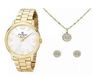 Relógio Champion Feminino Dourado Elegance + Colar E Brincos 18k