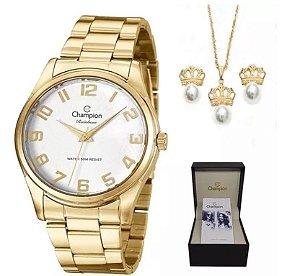 Relógio Feminino Champion Dourado Com Semi Jóia