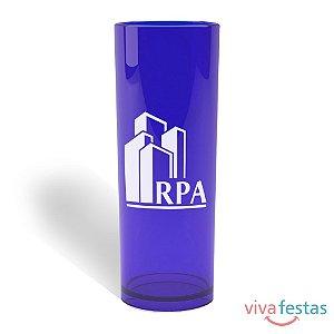 Copo Long Drink Personalizado  com 350ml - Cor Azul Translúcido
