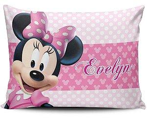 Almofada 20x32cm Personalizada Minnie Rosa - Enchimento Anti Alérgico