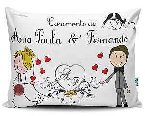 Almofada 20x32cm Personalizada para Casamento Noivado - Enchimento Anti Alérgico