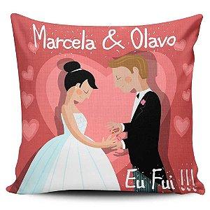 Almofada 32x32cm Personalizada para Casamento Noivado - Enchimento Anti Alérgico