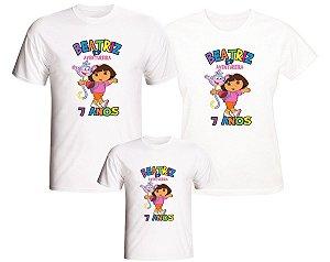 Kit 3 Camisetas Personalizadas com Nome e Tema - Dora