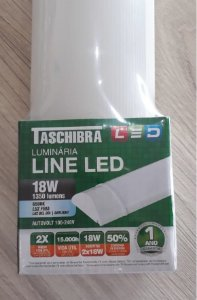 Luminária Line LED 60 CM 18W 6500K Bivolt - TASCHIBRA