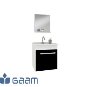 Conjunto Suspenso para Banheiro com Cuba e Espelheira 1 Porta Pop Preto/Branco - GAAM