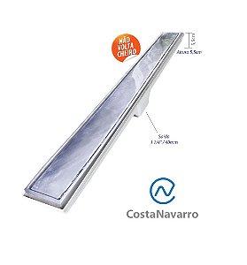 Ralo Sifonado Linear com Base + Grelha 7 x 70 CM com Saída Para Baixo Cromado - COSTA NAVARRO