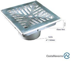 Caixa Coletora com Base + Grelha 18 x 18 CM Com Saída para Baixo Cromado - COSTA NAVARRO