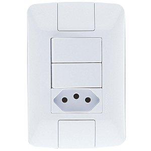 2 Interruptores Simples 6A + 1 Tomada 2P+T 20A ARIA - TRAMONTINA