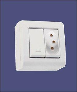 1 Interruptor Simples + 1 Tomada 2P+T 20A/250V Branco de Sobrepor LIZFLEX - TRAMONTINA