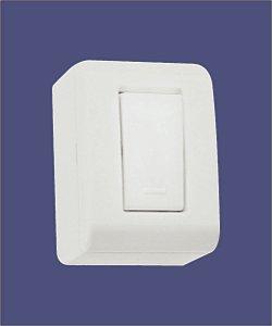 1 Interruptor Simples 10A/250V Branco de Sobrepor LIZFLEX - TRAMONTINA
