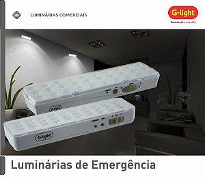 Luminária de Emergência Slim 30 LEDS 1,2W 6500K Bateria de Lirio Bivolt - G-LIGTH