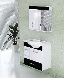 Conjunto Suspenso Viena com Armário + Espelheira com 1 Lâmpada LED + Pia Sintética Preto - AJ RORATO
