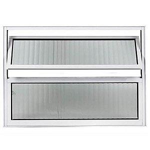 Vitro de Alumínio para Banheiro Basculante Branco 40x60 Com Vidro Canelado - RELI