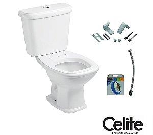 Conjunto Vaso Sanitário Fit Branco (Kit Assento + Anel de Instalação + Engate + Fixadores ) - CELITE