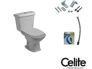 Conjunto Vaso Sanitário Fit Cinza Prata (Kit Assento + Anel de Instalação + Engate + Fixadores ) - CELITE