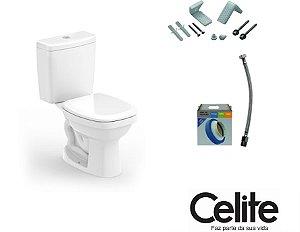 Conjunto Vaso Sanitário Like Branco (Kit Assento + Anel de Instalação + Engate + Fixadores ) - CELITE