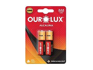 Pilha Palito Alcalina AAA 1,5V Cartela com 2 Unidades - OUROLUX