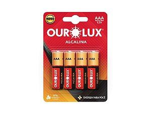 Pilha Palito Alcalina AAA 1,5V Cartela com 4 Unidades - OUROLUX