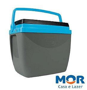 Caixa Térmica 18 Litros Cinza com Azul - MOR