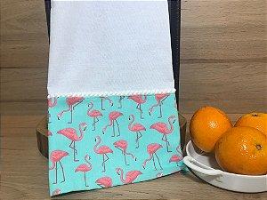 Pano de prato barrado em tecido 100 % algodão - linha flamingos