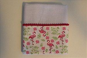 Pano de copa fofo com barrado estampado  -  flamingos