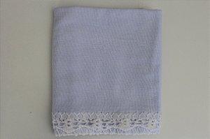 Pano de copa fofo com barrado em crochê - branco