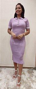 Vestido Tricô Modal polo Lilás