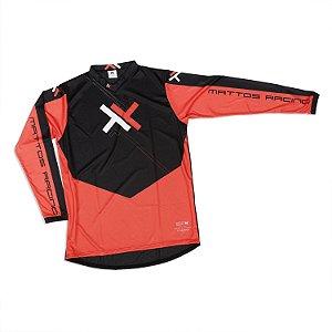 Camisa Motocross Cross Trilha Cinza Atomic Mattos Vermelha