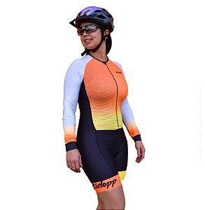 Macaquinho Ciclismo Feminino California Ciclopp Bike Manga L