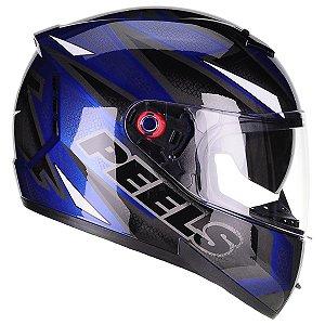 Capacete Peels Icon Fast Azul Preto Smart Trip Comunicador