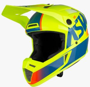 Capacete Motocross Cross ASW Bridge Amarelo Azul Laranja