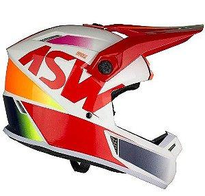 Capacete Motocross Cross ASW Bridge Branco Vermelho Laranja