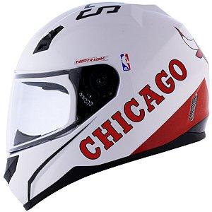 Capacete Norisk Coleção Nba Chicago Bulls Branco Basquete
