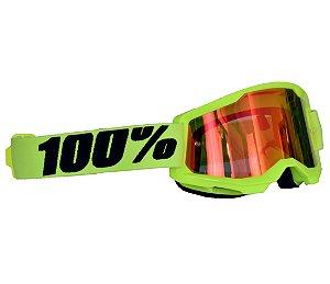Óculos 100% Strata 2.0 Yellow Amarelo Espelhado Motocross