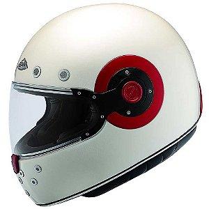 Capacete Smk Retro Custom Pearl White Branco Vermelho