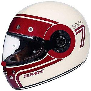 Capacete Smk Retro Custom Seven Branco Vermelho