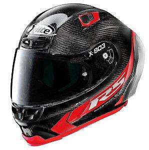 Capacete X-lite X-803 RS Hotlap Carbon Preto Vermelho Leve