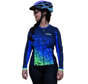 Camisa Ciclismo Aqua Ciclopp Manga Longa Azul Feminina