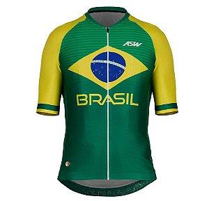 Camisa Masculina Ciclismo Bike Asw Brasil Cbc Verde Amarelo