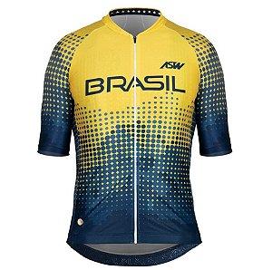 Camisa Masculina Ciclismo Bike Asw Brasil Cbc Azul Amarelo