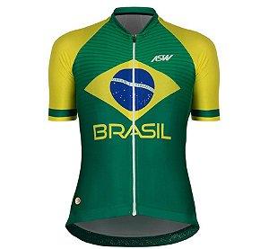 Camisa Feminina Ciclismo Bike Asw Brasil Cbc Verde Amarelo