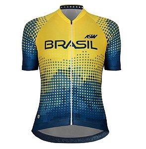 Camisa Feminina Ciclismo Bike Asw Brasil Cbc Azul Amarelo