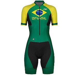 Macaquinho Ciclismo Bike Feminino Asw Brasil Verde Amarelo