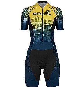 Macaquinho Ciclismo Bike Feminino Asw Brasil Azul Amarelo