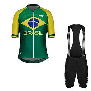 Conjunto Ciclismo Bike Masculino Asw Brasil Verde Amarelo