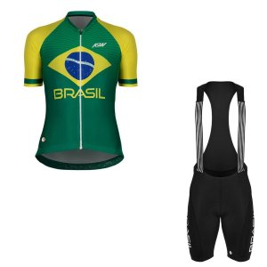 Conjunto Ciclismo Bike Feminino Asw Brasil Verde Amarelo