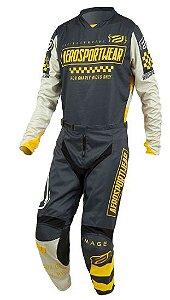 Conjunto Motocross Cross ASW Knight 21 Cinza Amarelo