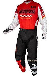 Conjunto Motocross Cross ASW Knight 21 Vermelho Preto Branco