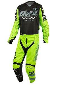 Conjunto Motocross Cross ASW Knight 21 Preto Amarelo Fluo